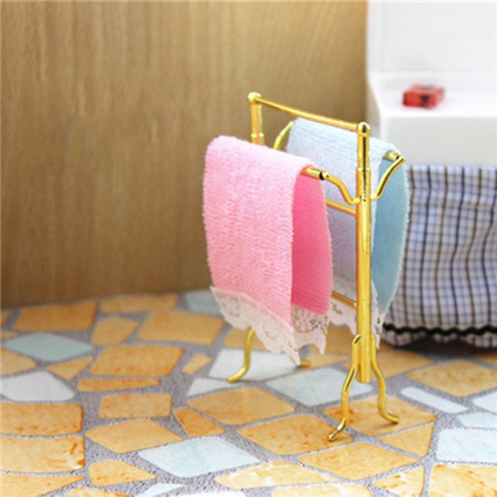 1/12 Dollhouse Miniature Accessories Mini Towel With Rack   Simulation Bathroom Bath Frame Model Toys For Doll House Decoration
