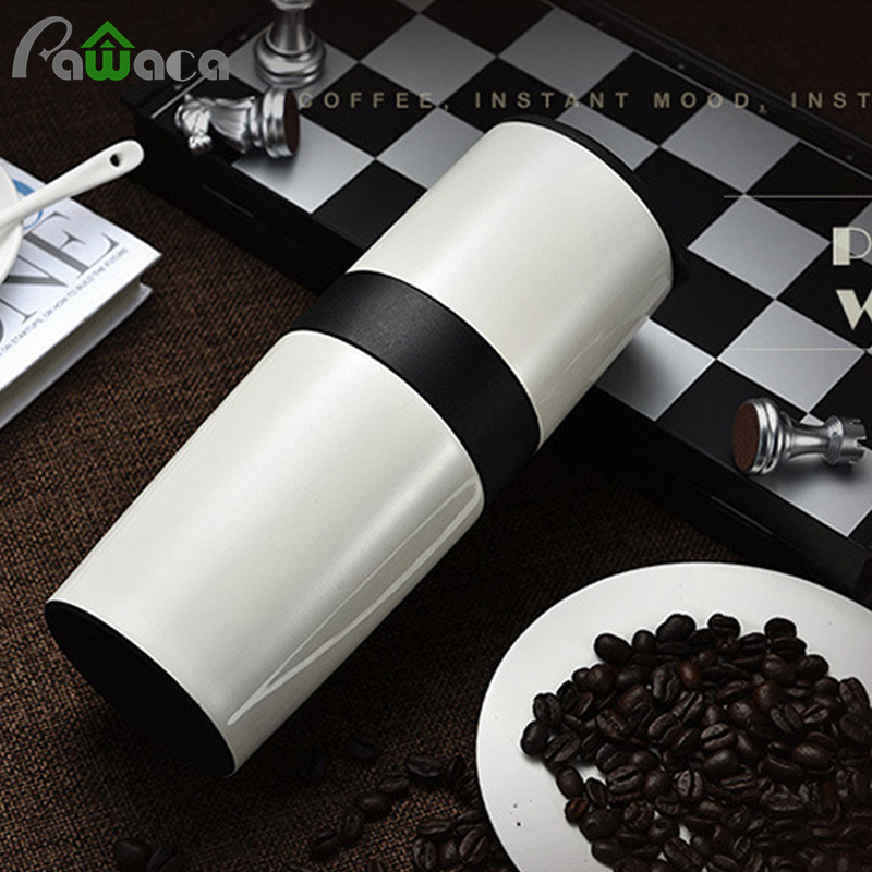 All In One Portable Manual Coffee Bean Grinder Set Coffee Maker Brewer Filter With Travel Mug Adjustable Ceramic Conical Burr