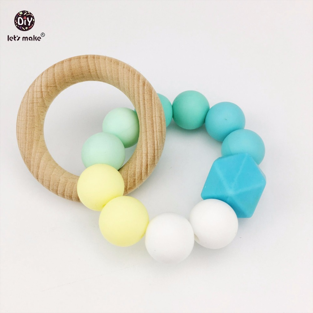 Lets Make Silicone Teether Baby Toys Bracelet Teething Wood Food Grade Silicone Beads Baby Shower Gift Nursing Bracelet Teether