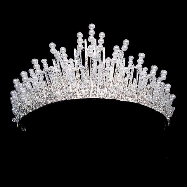 Luxury clearl crystal bridal crown pearl headband handmade wedding luxury clearl crystal bridal crown pearl headband handmade wedding hair vine tiara accessories headpiece bridal crowns junglespirit Choice Image
