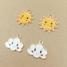 10pcs Fashion Enamel Metal Sun Cloud KC Gold Color Charms Girls Women Lady DIY Necklace Pendant Jewelry Accessory Findings YZ345
