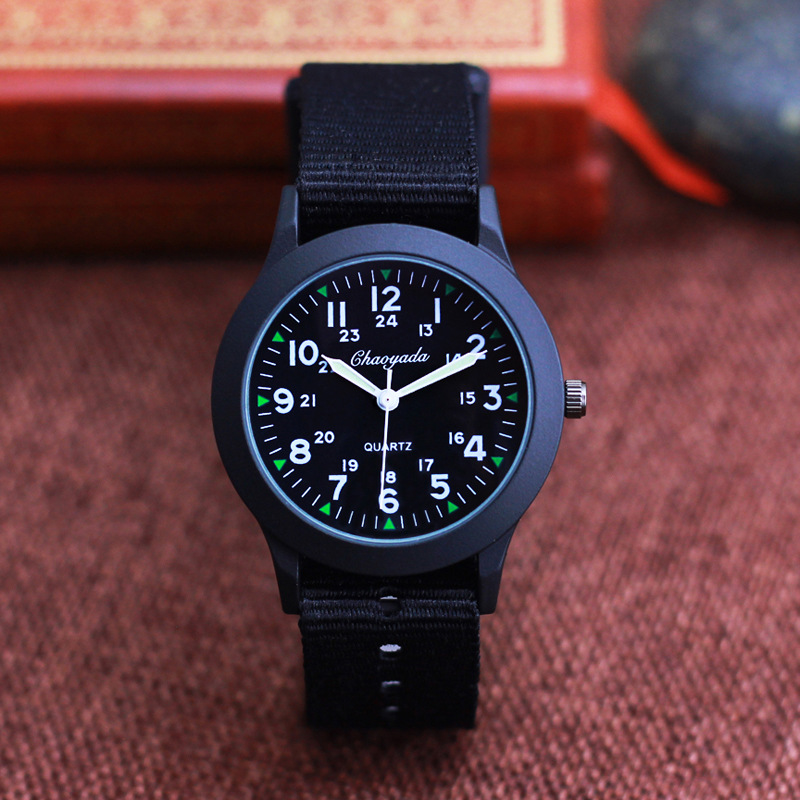2019 Chaoyada Children Boys Girls 24hours Canvas Luminous Pointer Quartz Wristwatches Kids Students Military Waterproof Watches