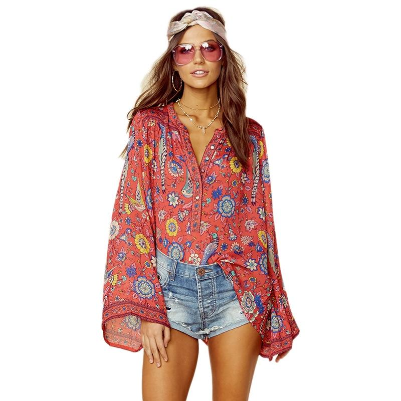 Flare long sleeve taste v ausschnitt b hmische bluse frauen vintage hippie bluse 2018 fr hling - Hippie bluse damen ...