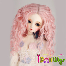 Free Shipping High Temperature Fiber Pink Color Long Deep Spiral Curly Hair Wigs for 1/3 1/4 1/6 BJD SD Dolls aqk aqk bjd1 4 dolls castle spider sd dolls free eyes