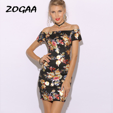 ZOGAA Flower Print Bardot Pencil Dress Black White Off the Shoulder Slim Women Summer Dress 2019 Sexy Cap Sleeve Bodycon Dresses plus flower applique knot bell sleeve bardot dress