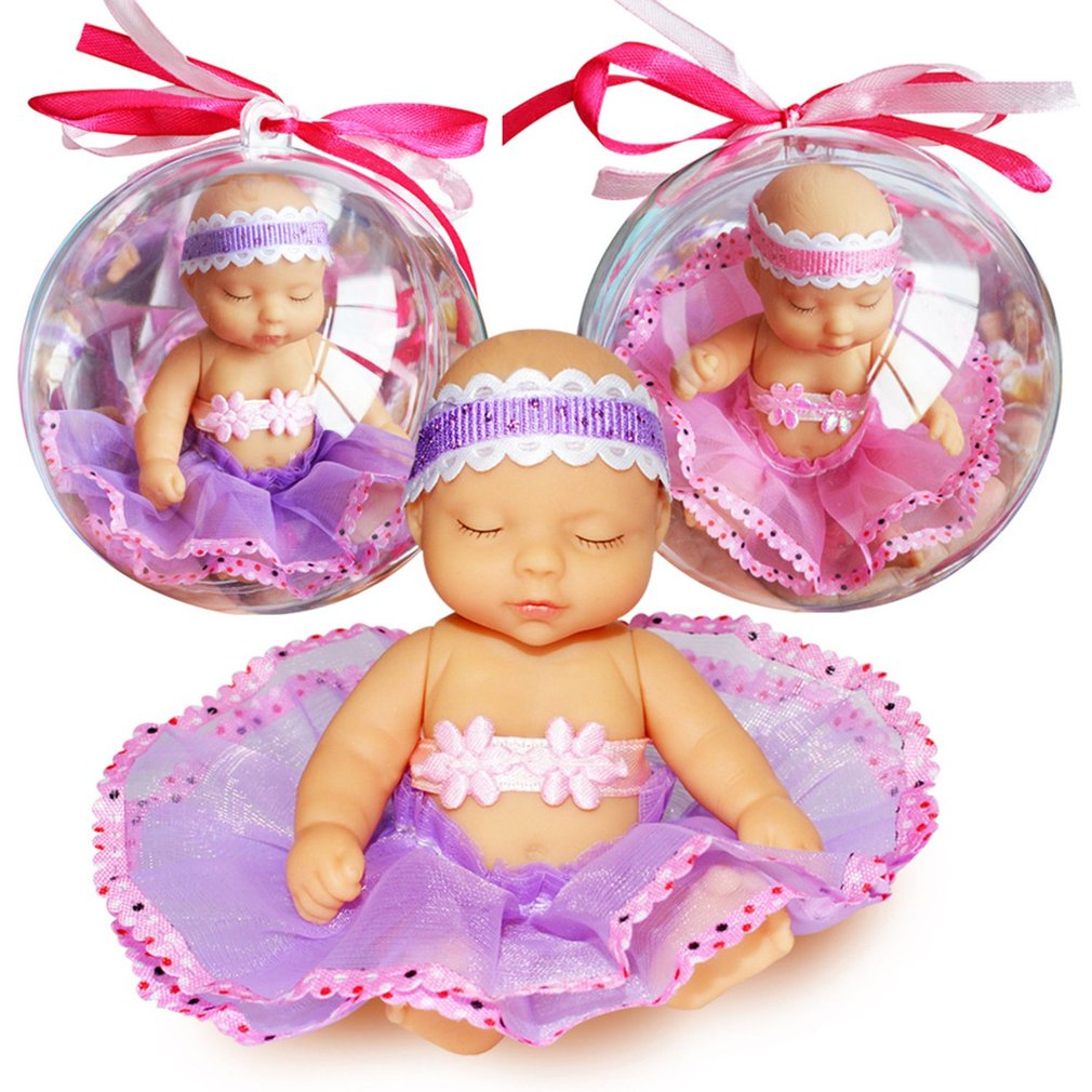 OCDAY Baby Pocket doll Toys Magic Ball Toy Funny Clothes Changing Removable Clear Ball Doll Figure Toys for Girls Children Gifts