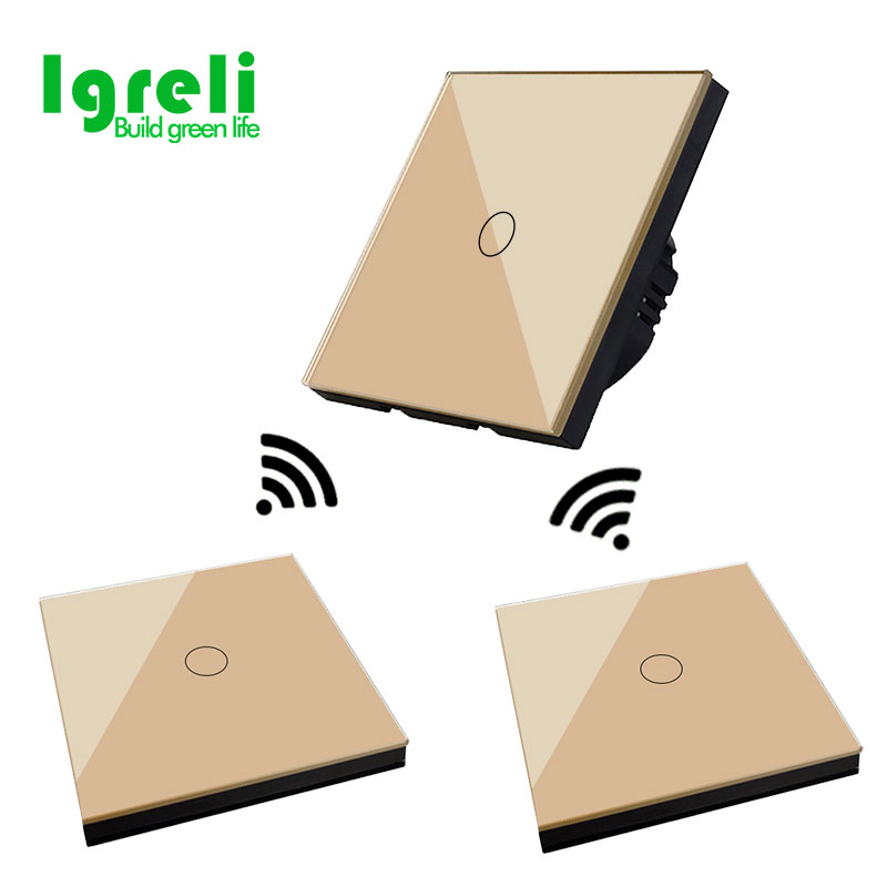 Igreli smart touch remote control wall switch and switches shape remotes(433 rf),two pieces tempered glass panel free stickers igreli new touch switch wireless remote control for intelligent wall free sticker switches free wiring to receive rf433 signals