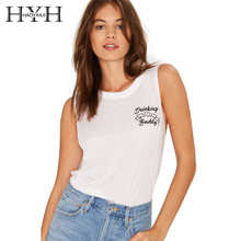 HYH HAOYIHUI White Letter Print Women T-shirts Sleeveless Crew Neck Casual Brief Tops Streetwear Slim Loose Long T-shirts white casual halter sleeveless t shirts