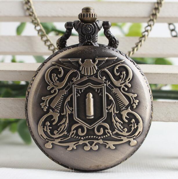 Vintage Bronze Antiques Bullet Antiques Flip Clock Good Quality Steampunk Necklace Pocket Watches Gift PO875