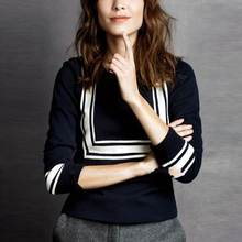 women's high quality brand celebrity runway fashion elegant dark blue Navy collar thick 70% wool pullovers jumper sweater