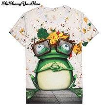 Neue schöne frauen/männer casual 3D Kurzen Ärmeln tier lustige t-shirts Druck Frosch tragen gläser t-shirt Greasepaint T hemd