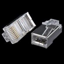 50x Metal Shield RJ45 RJ 45 8P8Cเครือข่ายCAT CAT5E Modular Plugเครือข่ายชุบทอง #8799