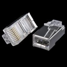 50x 금속 방패 RJ45 RJ 45 8P8C 네트워크 CAT CAT5E 모듈 형 플러그 금도금 네트워크 커넥터 #8799