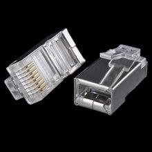 50x metal escudo rj45 RJ-45 8p8c rede gato cat5e plugue modular banhado a ouro conector de rede #8799