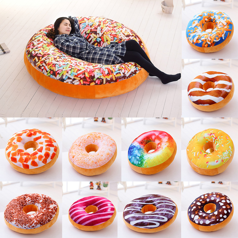 38 60cm donut food toy colorful stuffed ring shaped decor plushie head pillow seat cushion for chair indoor floor sofa kids gift