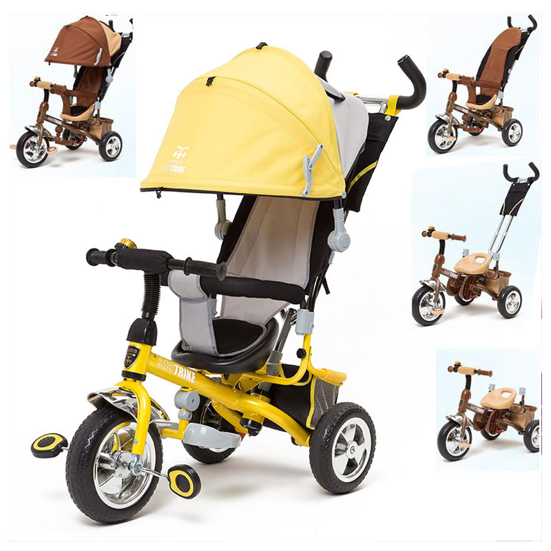 4-en-1 déformable enfants Tricycle poussette bébé Tricycle vélo Buggies 3 roues Tricycle vélo poussette guidon Tricycle