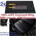 2 2xlot novo 2016 controle dmx 4096 parâmetros copiar avó grand MA onPC Asa comando DMX Console de Iluminação de Palco De Áudio Clube igreja