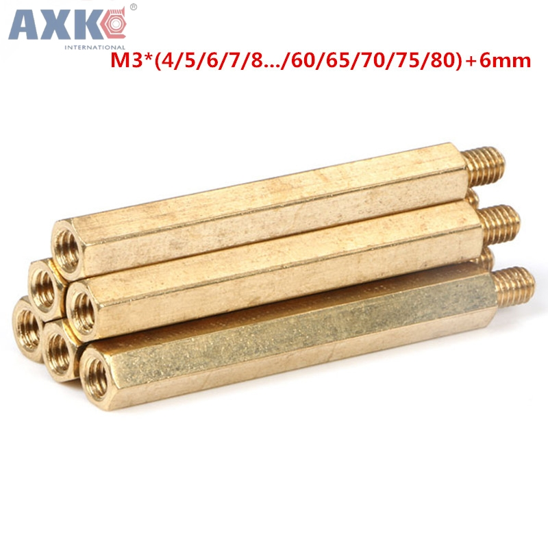AXK Six angle Hexagonal struts copper stud nut M3 * ( 4 to 80 )+ 6 mm Spacing Screws Brass Standoff Hollow Pillars special copper screws copper hexagon bolt copper outer hexagonal screws m16 80