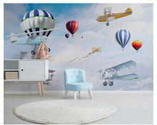 beibehang Custom fashion personality silky wallpaper Nordic simple hand-painted aircraft balloon children room background behang(China)