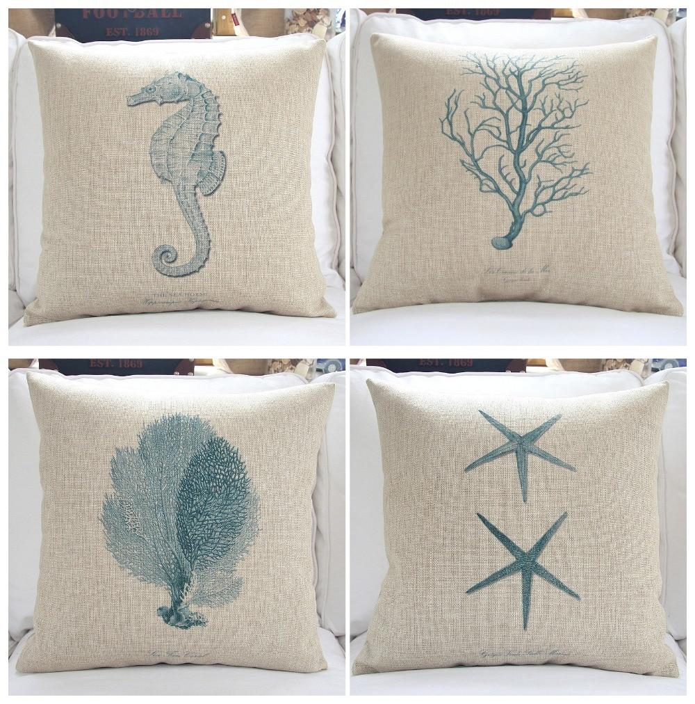 Sea Series Thick Cotton Linen Cushion Covers Decorative