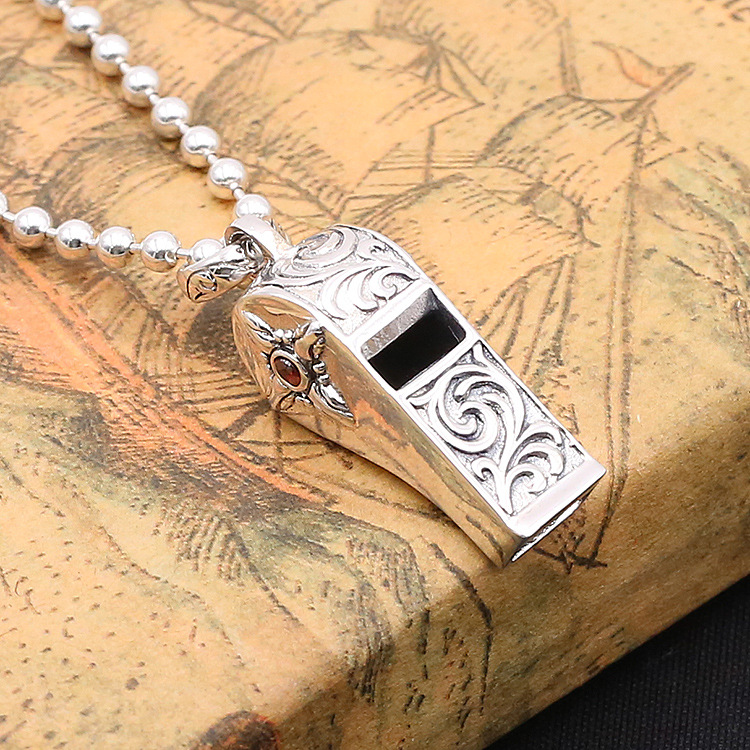 Wholesale S925 Sterling Silver Jewelry Vintage Thai Silver Men And Women Japan And South Korea Blowing Whistle Silver Pendant