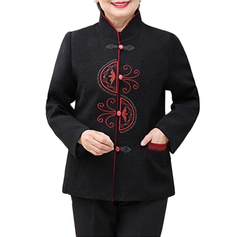 Mère La Moyen Manteaux Wine Manteau Red Laine Taille Femme Hiver black De Un Impression Debout Lâche Plus 5xl Âge Veste Col Femmes Automne b6Y7gvfy