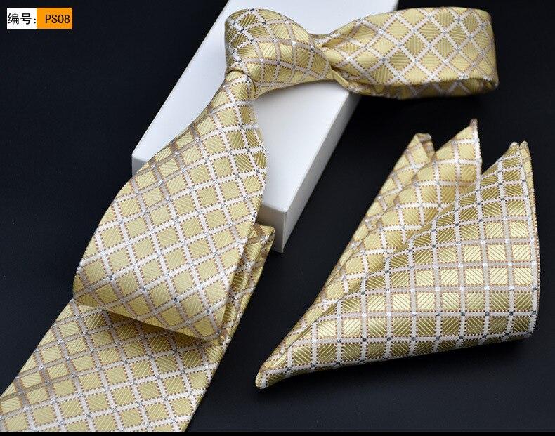 11bb3390bf8f CityRaider 2016 New 8cm Width Mens Neck Tie Set Classic Plaid Gold Ties For  Men Wedding Tie Pocket Square Handkerchief Set LD003-in Men's Ties ...