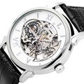 FLENT Men Fashion skeleton Watch Leather Band Self wind Automatic analog Wristwatch