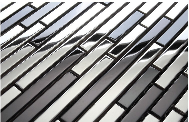 Mosaics Stainless Steel Striped Black Tile Kitchen