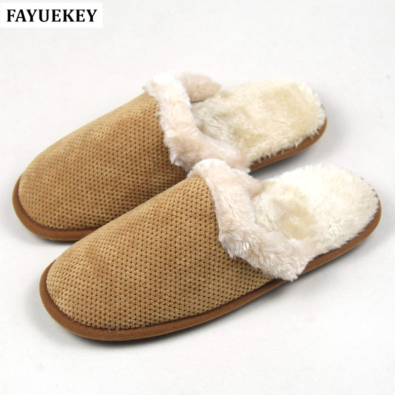 FAYUEKEY New Autumn Winter Non-slip Cotton Plush Home Slippers Men Indoor\Floor Outdoor Thicken Warm Boys Slippers Flat Shoes fashion autumn and winter indoor home lovers cotton drag floor plush slippers female slip resistant