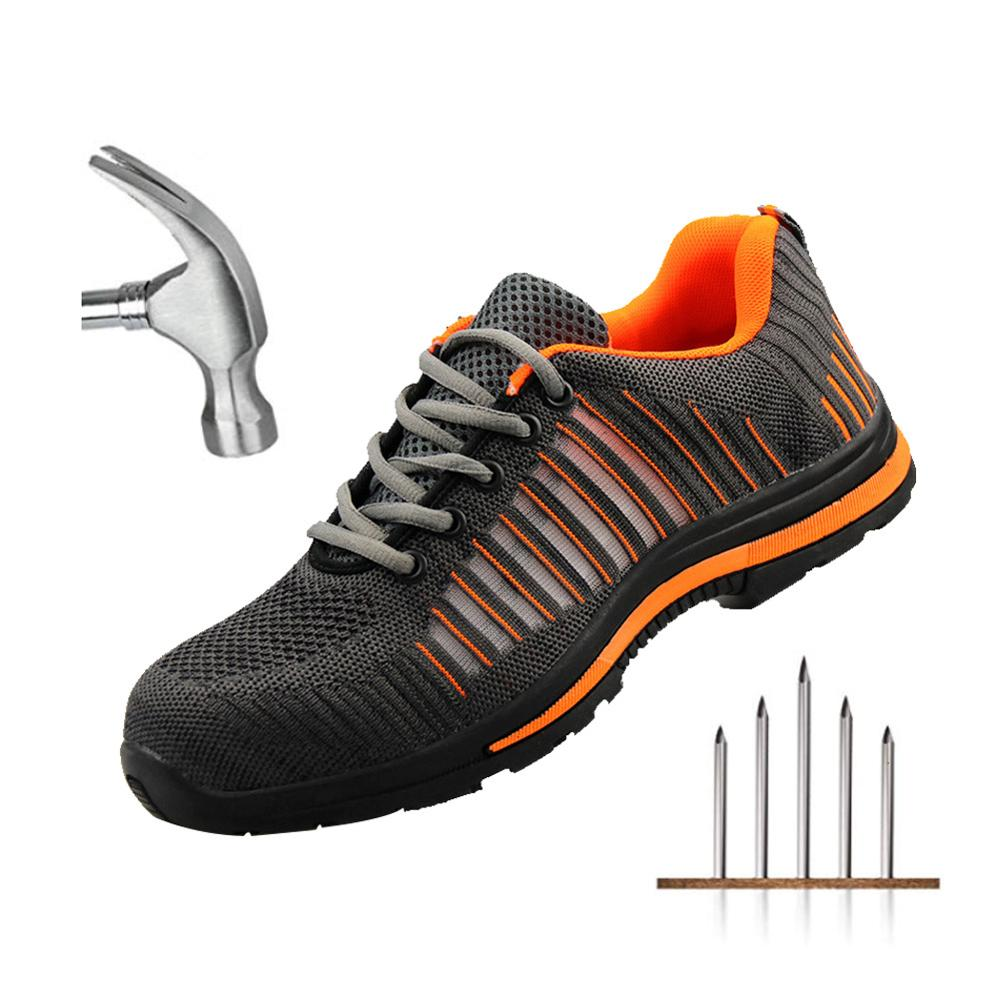 Men's Breathable Steel Toe Cap Safety Shoes Men Outdoor Anti-slip Steel Puncture Proof Construction Safety Boots Work Shoes