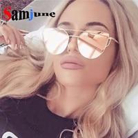 Samjune Hot Sale Fashion Cat Eye Sunglasses Women Classic Brand Designer Female Twin-Beams Coating Mirror Flat Panel Lens