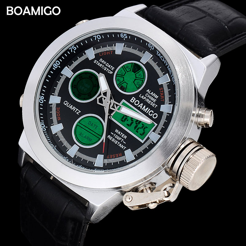 men dual display watches fashion sports watches leather digital watches BOAMIGO waterproof quartz gift wristwatches reloj hombre boamigo men sports watches brown leather band man military quartz led digital analog casual wristwatches waterproof reloj hombre