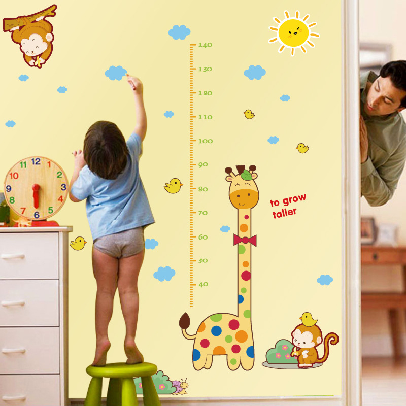Cartoon Giraffe Monkey Height Measure Wall Stickers For Kids Rooms ...
