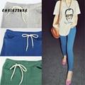 4 Color S-XL de la Mujer Leggings de Algodón de Moda Flaco Delgado Leggings de Encaje de Bolsillo Del Color Del Caramelo Del Tobillo Pantalones de la Longitud Legging de Las Mujeres