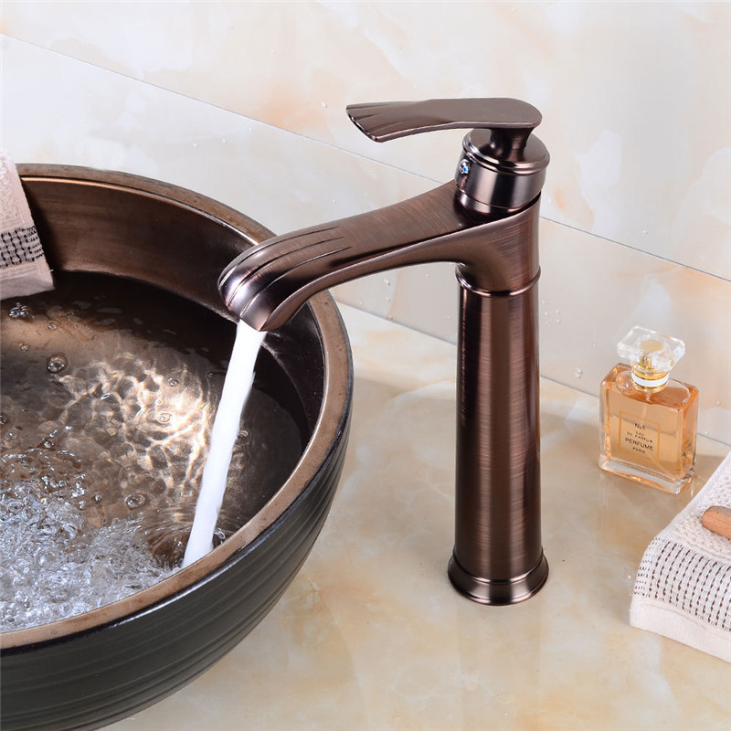 Bathroom Basin Faucet Brown Bronze ORB Basin Faucet Unique Design Solid Brass Basin Water Tap Hot Cold black mixer tap Torneira car styling 30cm 100cm graffiti cartoon vinyl wrap car motorcycle decal diy phone laptop automobiles bike sticker film sheet