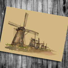 The classic Dutch windmill  Beer Collection Bars Kitchen Vintage Poster Wall Stickers Retro Kraft paper Drawing free shipping