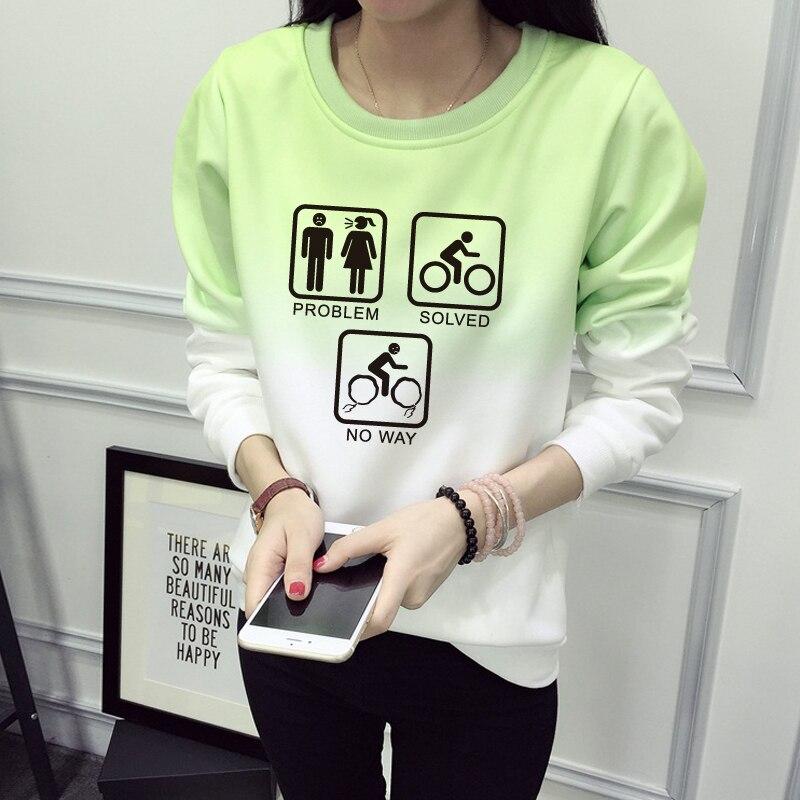 Problem Solved Sweatshirt Winter Women 2016 Women Sweatshirt Casual Long Sleeve Gradient Print Tracksuit Hoodies JBW-12437