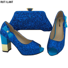 New Royal Blue Color Matching Shoes and Bag Set Italian Shoes with Matching  Bags High Quality 186531ff054d