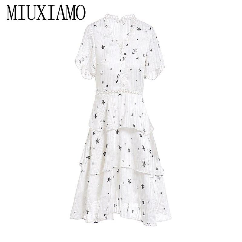 MIUXIMAO 2019 New Fashion Runway Summer Cake Dress Women's Retro Flare Sleeve Star Print Casual fringed Dress Women vestidos