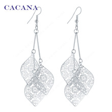 CACANA Dangle Long Earrings With 3 Same Hollow Leaves For Women Bijouterie Hot Sale No.A95 A96