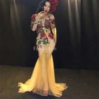 Sexy Rose Flower Printed Crystals Dress Nightclub Show Ds Dj Stage Costume Nube Tailing Women Evening Performance Party Dresses