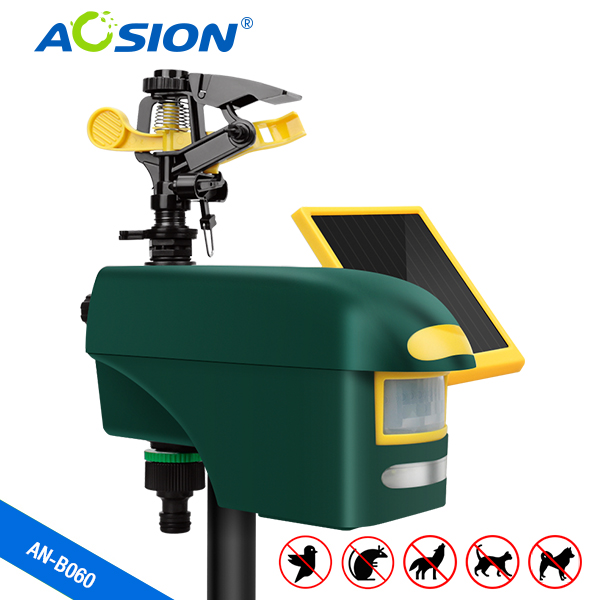 Free Shipping Aosion Solar Motion-activated Sprinkler Animal Repeller With Strong Led Flash To Repel Birds,cats,dogs,foxes,deers