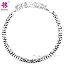 European Female Fashion Rhinestone Belts For Women's Belts Silver Plated Metal Waist Chain Belt Wedding Bridal Bridesmaid BL-479
