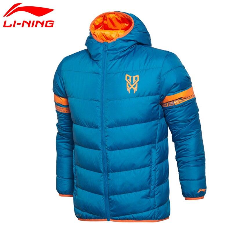 Li-Ning Men Basketball Short Down Coat AT PROOF WIND Slim Fit 90% White Duck Winter Warm LiNing Jackets AYML009 MWM1714
