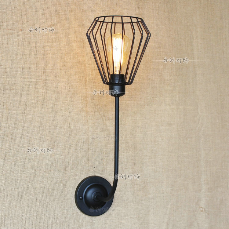 Iron black lampshade wall lamp vintage cage guard sconce loft lighting fixture modern indoor lighting wall lampsIron black lampshade wall lamp vintage cage guard sconce loft lighting fixture modern indoor lighting wall lamps