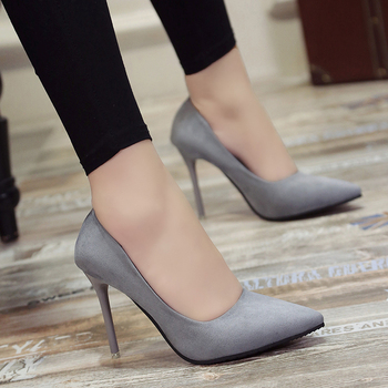 New 10cm Black Pointed High Heels Stiletto Shallow Mouth Wild Women's Single Shoes Professional Work Shoes Pumps