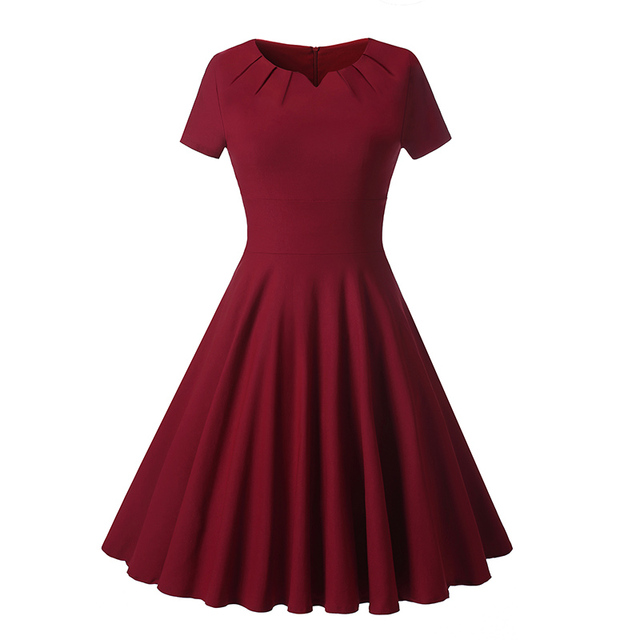 b2d7296520a Vintage Fit   Flare Midi Dress 1950s 60s Burgundy Emerld Rockabilly Retro  A-Line Cocktail Formal Party Swing Dress Shawl S-XXL