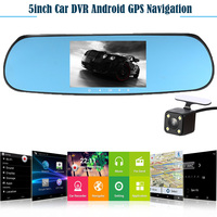 5 1080P Android Smart System Car Rearview Mirror Built In GPS Navigation WIFI Dual Lens Car