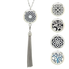 With Chain as Gift! 316L Stainless Steel Perfume lockets 30MM aromatherapy Pendant Essential Oil Diffuser Necklace with Tassel